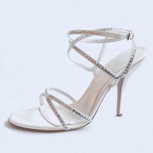 Sergio Rossi White Satin Crystal Multistrap Sandal